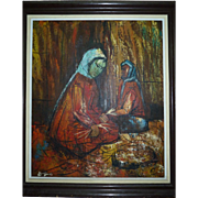 Vintage Cubism Oil Painting, Bedouin Women in the Market, Signed E. ENOS, 64 x 54 cm