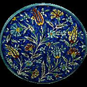 Vintage Jerusalem Armenian Karkashian Studio Pottery Signed Ceramic Plate, D 26.3 cm