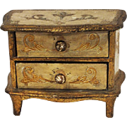 Antique wooden jewelry two draw chest