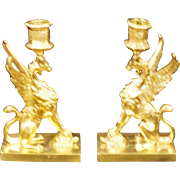 TIFFANY & Co. antique pair of gilded bronze GRIFFINS Candle holders