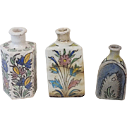 Lot of 3 Persian pottery bottles / flasks