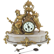 French figural clock with marble base