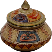 Antique Native American  polychrome jar with lid