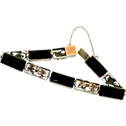 1920's 10k Gold-Plated Sterling and Onyx Bracelet