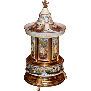 Vintage Italian Capodimonte Musical Carousel Cigarette Dispenser