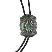 SALE vintage Southwestern handcrafted turquoise and silver concho bolo tie