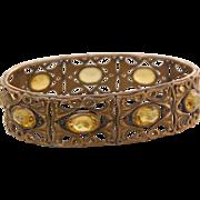 Art Nouveau classic scroll panel bangle bracelet yellow uranium glass stones