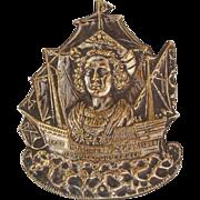 Victorian 1892 1893 Chicago Worlds Fair Official Souvenir Columbus Brooch Pin