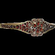 SOLD Victorian Bohemian garnet floral bangle bracelet