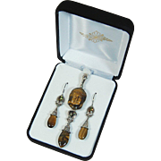 SALE Sajen Tiger eye and mango topaz carved Buddha pendant and earrings set sterling silver