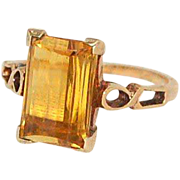 SOLD Unusually faceted 10kt gold simulated topaz ring SZ 6 - Red Tag Sale Item