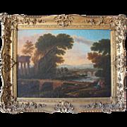 Victor De Grailly Framed Landscape With Figures 1840s Paris Stamp