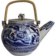 Large and Bold Antique Chinese Blue & White Porcelain Tea Pot/Stunning!