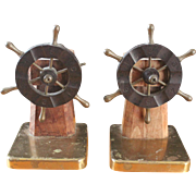 Vintage Ship's Wheel Bookends/designed by Walter Von Nessen for Chase Co.