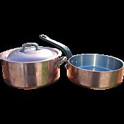 Vintage 2-Piece Lot DEHILLERIN, Paris, Large Copper Saute Pan & Stock Pot/3MM & 2MM
