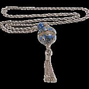 Silver, Lapis Lazuli Pendant - Hearts Design