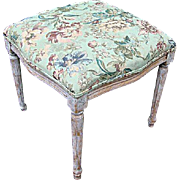 COUNTRY FRENCH Upholstered foot stool: early 1900's