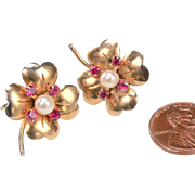 1940's Ruby, Pearl, Gold Earrings - 4 Leaf Clovers