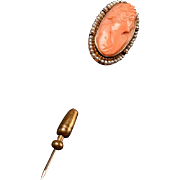 Edwardian Coral, Cultured Seed Pearl Cameo Stick Pin
