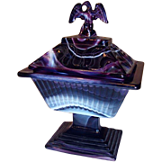 Imperial Glass: Purple Slag Compote with Lid:  Eagle Finial