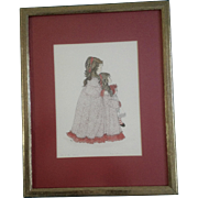 Mitzie Sommer Watercolor Embellished Print Signed in Pencil and numbered 2/85 1973 Titled, ...