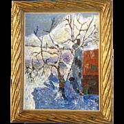 "Gene L Carey, Impasto Oil Panting on Canvas ""Blue Wind"" Impressionist Winter Tree and Hous"