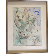 Bunny Rabbit Surrealism Alice in Wonderland Mixed Media Watercolor, Oil and Ink Painting Works