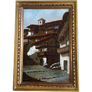 Mico Zayas, Oil Over Gold on Masonite Painting Landscape Spanish Villa Spain Artist