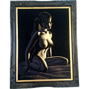 Black Velvet Nude Painting Signed By Artist Gorgeous Beauty in Tiki Frame Pin Up Girl ...