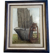 Old Coal Bucket and Lantern, Watercolor Painting, Symphony Art Show Crested Butte Colorado, ..
