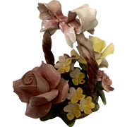 Capodimonte Italy Porcelain Flowers in a Basket Arrangement Vintage N Crown Mark Figurine