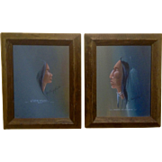 Tommy Hawk, Oil Paintings on Canvas Indian Chief & Native American Woman Profile With Poems ..