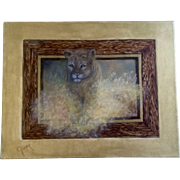 Virginia R. Gerber (Ginny), Oil Painting on Canvas Cougar Lion Jumping out of a Picture ...