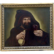 Antique Oil Painting Monk Drinking Wine 17th-18th Century Old Masters Painted on Canvas