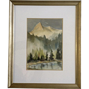 L Talbot, Watercolor Works on Paper Painting Mountain Landscape Signed by Artist