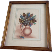 Ida Bisek Prokop (1902 - 1990) Prairie Picture Folk Art Pitcher of Wildflowers, Feather Flower