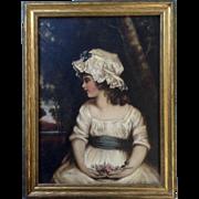After Joshua Reynolds Girl in Bonnet Oil Painting on Board 19th Century Art