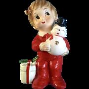Josef Originals Christmas Pajama Boy Holding a Snowman with a Bare Bottom Mid-Century Made ...