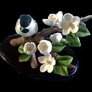 Andrea By Sadek Chickadee Bird Cherry Blossom Flower Porcelain Figurine