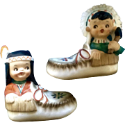 Native American Indian Boy Girl in Moccasins Salt and Pepper Shakers Vintage