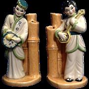 Ceramic Arts Studio Vase Asian PAIR of VINTAGE Triple Bamboo Bud Vases