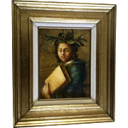Di Domizio, Oil Painting, Woman Holding a Book Wearing Olive Wreath Oil Paint on Canvas ...