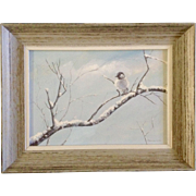SOLD Florence Vickery Guise (1913-1973) Watercolor Painting, Chickadee on Snowy Branch, Works