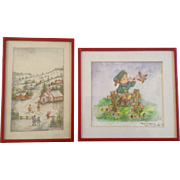 Clara K Adams, Watercolor Paintings, Folk Art Village and Little Boy on Fence, Signed by ...