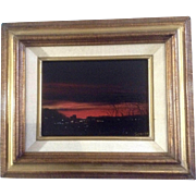 Spanks, Oil Painting on Board, Sunset in the Desert City, Signed by Artist