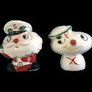 1959 HOLT HOWARD Japan SS NOEL Salt & Pepper Shakers Santa Snowman