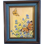 Small Butterfly and Moth Painting with Blue Wildflowers, Acrylic on canvas board monogrammed b