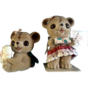 Josef Originals Fuzzy Bears Japan vintage Figurines Original Tag and Foil Seal