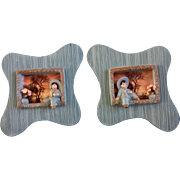 Chalkware Asian Wall Plaques Hanging 3D With Window Display Retro Mid-Century