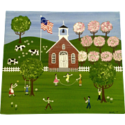 D Kelly, Folk Art Painting of Children Playing in a School Yard Bicentennial Flag, Acrylic ...